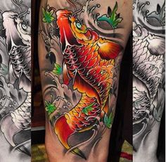 This tattoo really POPS. #inked #inkedmag #tattoo #koifish #ink #colorful #tattoos #japanese #style