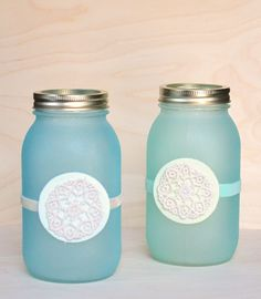 Make faux beach glass mason jar lanterns