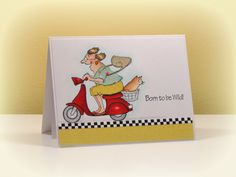 Art Impressions Rubber Stamps:Mad Rider Set (Sku#4101): Born to Be Wild! ... handmade birthday card.