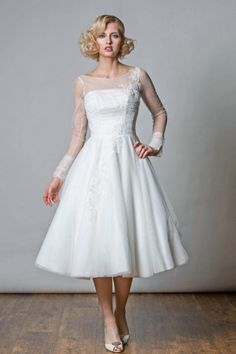 Rita Mae Tea Length Wedding Dress 1044