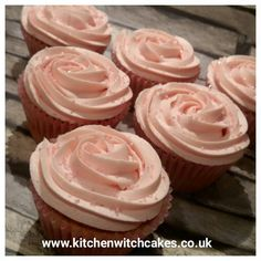 Strawberry flavoured cupcakes with pink vanilla Sponge Witch Cake, Vanilla Sponge, Cupcake Flavors, Cake Business, Kitchen Witch, Cake Decorating, Strawberry, Cupcakes, Desserts