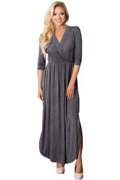 764b2e0f67c7 Gray Surplice Neck High Waist Pleated Pocket Maxi Dress only US$29.67 ,free  shipping to · Streetwear FashionSexy DressesEvening ...