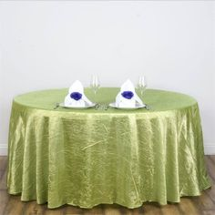 "117"" Apple Green Crinkle Crushed Taffeta Round Tablecloth"