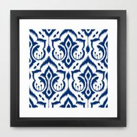 Framed Art Print featuring Ikat Damask Navy by Patty Sloniger