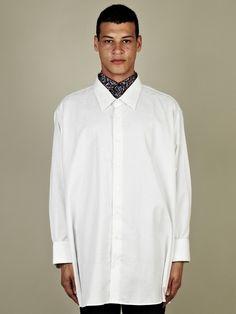Raf Simons Men's Deep Neck and Cuff Oversize Shirt in white at oki-ni