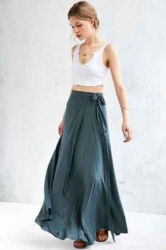 Boho wrap maxi skirt #blueroofind