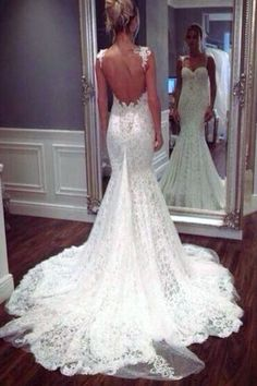Open Back Spaghetti Straps Lace Mermaid Bridal Gown Wedding Dresses LD268