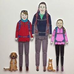 Loved drawing this hiking family with their family pets. Pen And Watercolor, Watercolor Pencils, Watercolours, Sharpie Pens, Custom Wedding Gifts, Portrait Illustration, Family Portraits, Paper Dolls, My Drawings