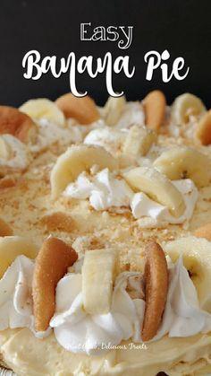 Banana Dessert Recipes, Banana Pudding Recipes, Pie Dessert, Easy Desserts, Delicious Desserts, Banana Cream Pie Recipe With Pudding, Easy Cream Cheese Desserts, Banana Pie Recipe, Easy Banana Cream Pie