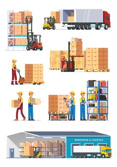 Set Of Flat Vector Web Banners On The Theme Of Logistics, Warehouse Warehouse Modern Design For Water Tank Html on