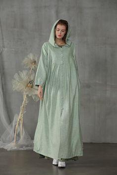 Modest Fashion, Hijab Fashion, Women's Fashion, Fashion Dresses, Linen Dresses, Cotton Dresses, Hooded Wool Coat, Long Overcoat
