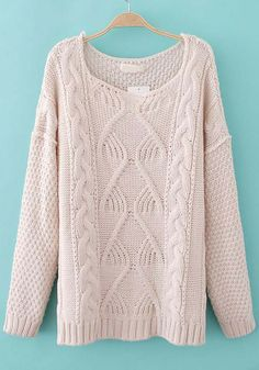 White Plain Round Neck Long Sleeve Cotton Sweater - Sweaters - Tops