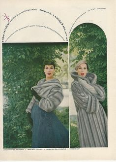 1955 Weinig & Son Cerulean EMBA Mink Fur Coat & Stole Vintage WOMENS FASHION Ad