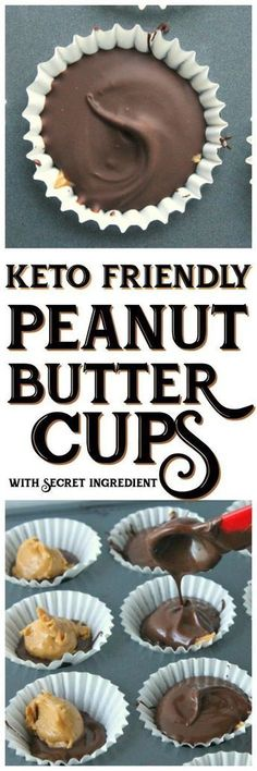 This delicious and simple Keto friendly peanut butter cups recipe will cure your sweet tooth! This delicious and simple Keto friendly peanut butter cups recipe will cure your sweet tooth! Desserts Keto, Keto Snacks, Dessert Recipes, Recipes Dinner, Simple Keto Desserts, Stevia Desserts, Keto Fat, Low Carb Keto, Low Carb Recipes