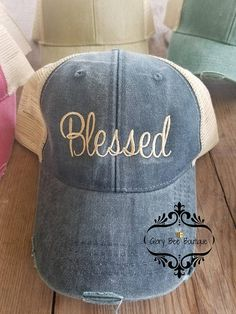 e3eb2aa2 Blessed Trucker Hat Blessed Distressed Trucker Hat Blessed Glory Bee  Boutique Baseball Hats, Blessed,