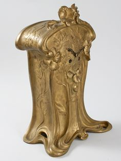 French Art Nouveau Gilt Bronze Mantel Clock , Charles Emile Jonchery, 1900