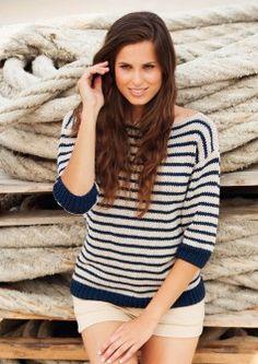 un pull marinière manches 3/4 à tricoter