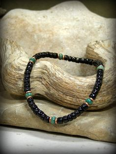 Tribal Bracelet Mens Bracelet Turquoise by StoneWearDesigns