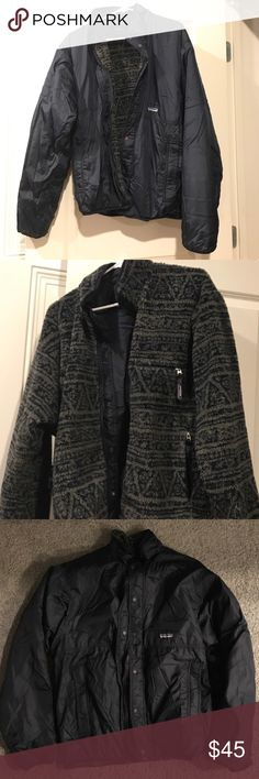 Size Large Patagonia Zip Up Fleece Wind Breaker Size Large . No imperfections. Good for cold and windy days. Fleece on the inside, wind breaker , water resistant. Could be worn by a male or female . I personally wore it myself :) Dark Navy Blue Patagonia Jackets & Coats