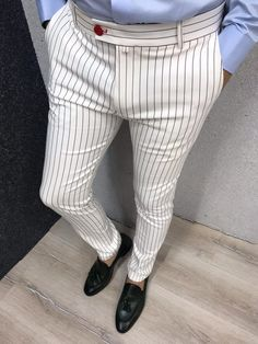 Collection: Spring – Summer 19 Product: Slim Fit Striped Pants Color Code: White Available Size: Pants Material: polyester, cotton, Machine Washable: Yes Fitting: Slim-Fit Package Include: Pants Only Mens Fashion Suits, Fashion Wear, Fashion Pants, Terno Casual, Men Trousers, Formal Trousers For Men, Formal Pants, Mens Dress Pants, Pant Shirt
