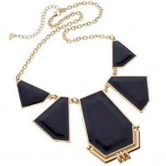 Glamorous gold necklace with 5 enamel shaped plates resting on a gold chain.  $2.00