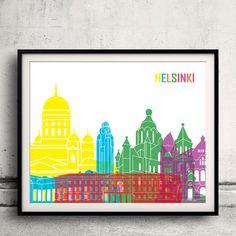 Helsinki pop art skyline  Fine Art Print Glicee by Paulrommer