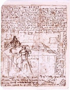 An 1837 diary page with a sketch of the Bronte sisters at work (courtesy of Bronte Parsonage Museum)