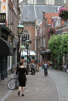 Historic street in Haarlem, Netherlands
