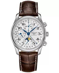 Longines Watch Men, Longines Hydroconquest, Bracelet Cuir, Bracelet Watch, Watch Master, Swarovski, Brown Leather Strap Watch, Seiko Watches, Patek Philippe