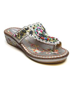 Love this Silver Floral Bead Embroidered Sandal on #zulily! #zulilyfinds