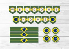 brazil.  flag of brazil.  welcome home.  party decor.  brasil.  banner.  water bottle wraps.  round labels.  printable.