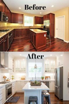 Kitchen Remodeling On A Budget - White IKEA Modern Farmhouse Style Kitchen Diy Kitchen Cabinets, Kitchen Redo, Home Decor Kitchen, Kitchen Styling, Home Kitchens, Old Kitchen, Kitchen Cabinet Refacing, Kitchen Cabinets With Glass Doors, Updating Oak Cabinets