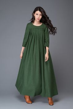 Wool dress long wool dress womens dress pleated dress dark