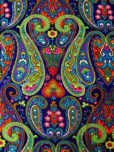 Vintage fabric - synthetic - super bright paisley - OMG this looks like the fabric for a dress my Mom made for me in the Sixties! Boho Pattern, Paisley Pattern, Pattern Art, Pattern Design, Textiles, Textile Patterns, Textile Art, Paisley Design, Paisley Print