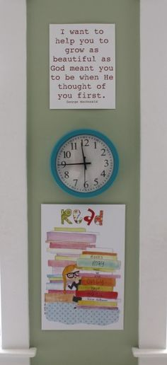 a colorful clock + that print! <3