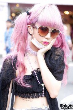 Juria's Pink Hair & Heart Sunglasses