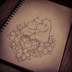 Moomin design, custom drawn for a client Tattoo Drawings, Cute Drawings, Moomin Tattoo, Simple Character, Anchor Tattoos, Tattoo Flash Art, Tattoo Illustration, Get A Tattoo, Character Drawing