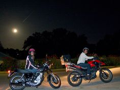 Love! A Shooting Star, a Supermoon, & 2 people in love. My girlfriend & me, on our 1st day of riding around Austin together on separate cycles. We wanted to take a pic with us & the supermoon, so I used the auto-timer, jumped back on my bike & inadvertently caught a shooting star; perfect! - August 10, 2014