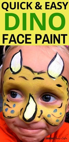 Quick and Easy Dinosaur Face Paint for Kids is part of Face painting Dinosaur - Face painting is a fun addition to any dramatic play! Let your child transform into a dinosaur with this super quick and easy dinosaur face paint design! Gross Motor Activities, Toddler Activities, Face Painting Designs, Paint Designs, Drawing For Kids, Painting For Kids, Painting Lessons, Painting Tips, Dinosaur Face Painting
