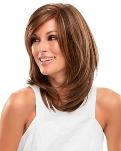Sandra Monofilament Synthetic Wig by Jon Renau. The beauty of these long, sleek lines and cascading layers looks supremely natural thanks to a hand-tied and nearly invisible double monofilament cap design. Haircuts For Medium Hair, Medium Hair Cuts, Long Hair Cuts, Medium Hair Styles, Straight Hairstyles, Cool Hairstyles, Short Hair Styles, Medium Length Hair Cuts With Layers, Med Length Hairstyles