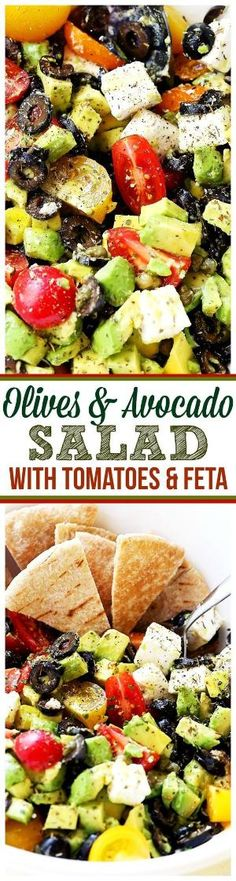Olives and Avocado Salad with Tomatoes and Feta Cheese - Delicious, colorful and summery avocado salad with black olives, tomatoes and feta cheese. by tammi