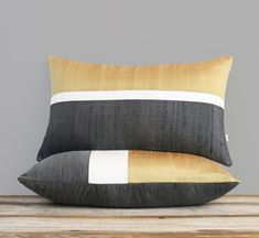 Silk Colorblock Pillow Cover: Perfectly proportioned color block stripes in ochre, cream and shimmering dark charcoal give this silk pillow a pop of color. One of the seasons hottest color trends! This gorgeous pillow will make the perfect accent on a chair, sofa, window seat or bed. Perfect as a housewarming gift too!  Original design by artist and interior designer, Jillian Carmine.  ----------------------------------------------------------------------------------------------- For…