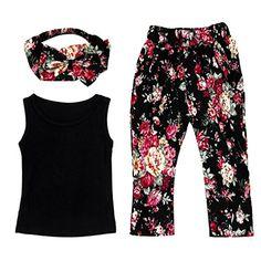 DaySeventh Girls Sleeveless Shirt/Tops + Floral Pants + Hair Band Set Clothes (1T, Black)