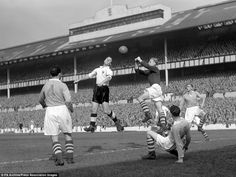 Manchester City goalkeeper Bert Trautmann in action during a league match against Tottenham at White Hart Lane in 1951