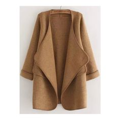 SheIn(sheinside) Khaki Long Sleeve Stitch Pocket Loose Cardigan ($30) ❤ liked on Polyvore featuring tops, cardigans, jackets, khaki, loose tops, brown tops, khaki top, long sleeve tops and pocket tops