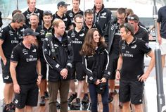Prince William, Duke of Cambridge and Catherine, Duchess of Cambridge on the yacht Imagine, talk with Grant Dalton and Dan Barker of Team New Zealand. Photo / Getty Images