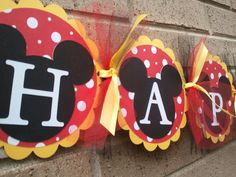 Mickey Mouse Inspired Happy Birthday Banner. $30.00, via Etsy.