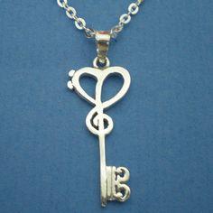 Skeleton Key Silver Music Necklace Pendant Treble by yhtanaff