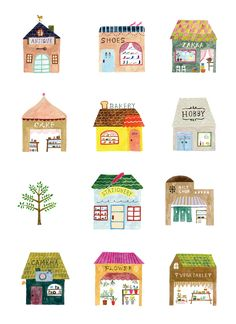 Cute watercolours of shops