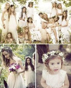 Here are some photos of Kate Moss' wedding.  This is again an earthier approach but easy to wear and quite beautiful